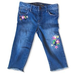 Baby Gap 5T Straight Cut Floral Embroidered Denim